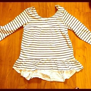 NWT light gray and white striped tunic